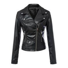 SheIn(sheinside) Lapel Zipper Pocket Slim Jacket (€31) ❤ liked on Polyvore featuring outerwear, jackets, black, pu leather jacket, pleather biker jacket, slim biker jacket, slim fit biker jacket e black jacket
