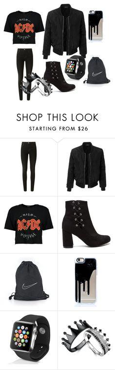 """black"" by sara-838 on Polyvore featuring moda, J Brand, LE3NO, Boohoo, NIKE y Apple"