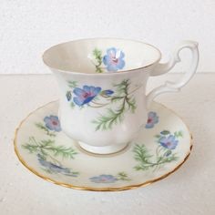 Blue Poppies on White Tea Cup and Saucer set by LaviniasTeaParty