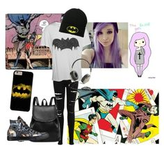"""Batman ""goth"" outfit"" by hannanordlund on Polyvore featuring Miss Selfridge, Zoe Karssen, Converse and Frends"