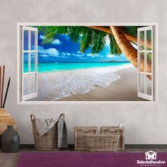 Wall mural Paris at sunset. It is the capital of France and its most populous city. It is located on both banks of a long meander of the Seine River Poster Xxl, 3d Wall, Wall Art, Beach Wall Murals, Beach Themes, Palm Trees, Wall Stickers, Caribbean, Frame
