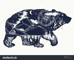 Bear double exposure tattoo art. Tourism symbol, adventure, great outdoor. Mountains, compass. Bear grizzly silhouette t-shirt design