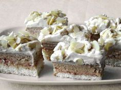 Creamy cuts with rich filling for coffee and coconut lovers. Dessert Bars, Dessert Recipes, Custard Buns, Y Recipe, Coconut Slice, Cream Cheese Eggs, Czech Recipes, Sweet And Salty, Cream Cake