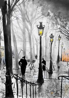 "Saatchi Online Artist: Loui Jover; Pen and Ink, Drawing ""montmartre stairs""Влага..."