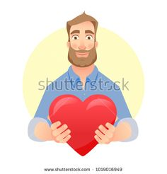 Man gives heart. Charity icon illustration. Charity concept. Stock photography, images, pictures, Illustrations, ideas. Download vector illustrations and photos on Shutterstock, Istockphoto, Fotolia, Adobe, Dreamstime