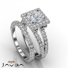 Fine Princess Diamond Pave Engagement Ring Bridal Set GIA G VS2 Platinum 3.78 ct