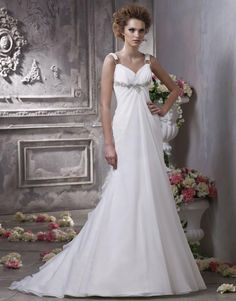 2012 Sparkly A-line Wedding Dress with Straps and Back V-neck Puffy Chiffon Style