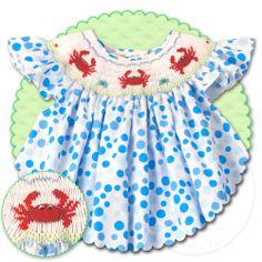 Red Crab Blue Polka Smocked Bishop 13SS 4694A