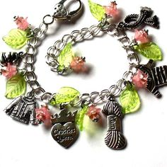 Excited to share the latest addition to my #etsy shop: Charm Bracelet Crochet Queen with Pink Flowers and Green Leaves. http://etsy.me/2CGG1Tf #jewelry #bracelet #pink #anniversary #mothersday #green #braceletforher #charmbracelet #forher