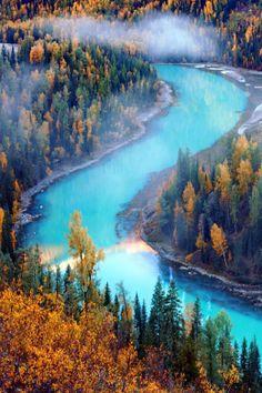 Turquoise River Xinjiang China Photo