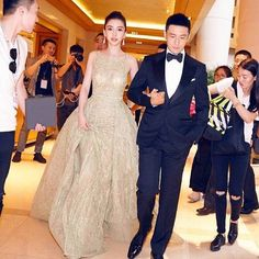 Angelababy in a chartreuse Elie Saab ballgown attended the 19th annual Shanghai Film Festival.