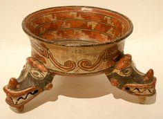 Terracotta Polychrome Tripod Bowl - CK.0453 Origin: Costa Rica Circa: 1100 AD to 1500 AD