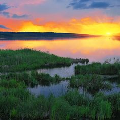 Beautiful summer sunset in the lake by Pilat666