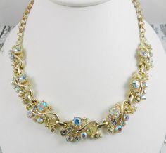 Vintage Rhinestone Statement Necklace Crystal by SparklyKreations