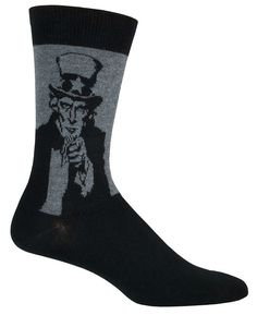I WANT YOU. Fits men's shoe size 8-12.5 -- the classic Uncle Sam poster, available in charcoal or red crew length socks.