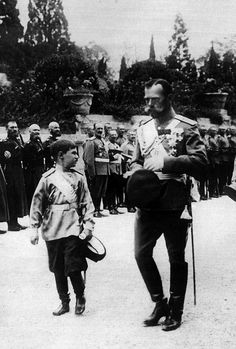Tsar Nicholas II and Tsarvitch Alexei at the parade in Peterhof, 1911.