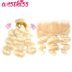 Hair Extensions & Wigs Westkiss Colored #27 Blonde Bundles With Closure Honey Blonde Body Wave Bundles With Closure Bleached Hair Remy Human Hair Weave