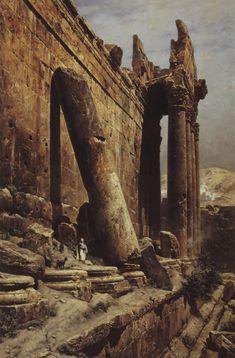 Gustav Bauernfeind: Ruinas del templo de Baalbek