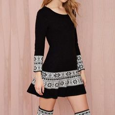 Abstract Pattern Retro Sweater Dress