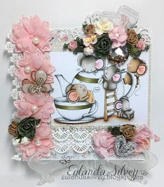 I'm back today with a sweet sweet image from LDRS called Time for a Cuppa. These guys are so stinkin cute! Xmas Cards, Gift Cards, Digi Stamps, Little Darlings, Vintage Buttons, Optical Illusions, I Card, Floral Wreath, Card Making