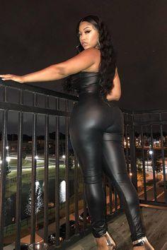 45e94fe940e Hualong Club Sexy Long Sleeveless Black Leather Jumpsuit