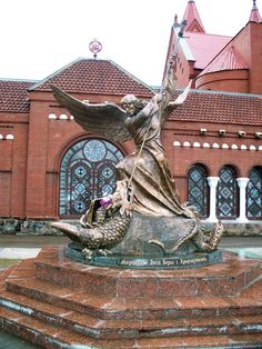 Statute of Michael the Archangel at the Church of Saints Simon and Helen in Minsk, Belarus