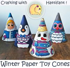 FREE Printables! Absolutely adorable Winter Paper Toy Cones for you to color and/or craft. Includes a Video Tutorial showing you how you can make your own!