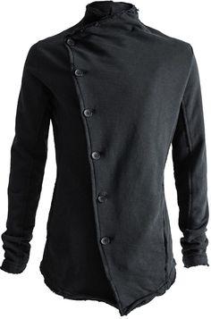 THOM / KROM   Asymmetric closure sweat jacket, Black