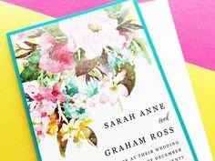 Watercolor Floral Wedding Invitation Suite Set Watercolour