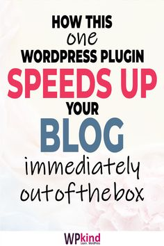 Hey I have an amazing blog tip to share! Slow blogs are a bummer aren't they? Here's how to get a super fast loading blog TODAY with this one plugin. AND it works out of the box.