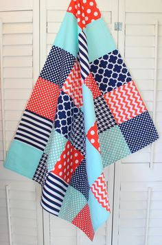 Baby Blanket, Unisex Patchwork Baby Blanket, Gender Neutral Nursery, Photo Prop, Crib Blanket, Coral, Seafoam, Mint Green, Navy Blue by theredpistachio on Etsy https://www.etsy.com/listing/192396836/baby-blanket-unisex-patchwork-baby