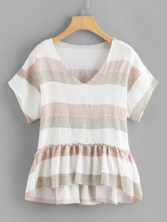 Cute Striped Pleated Peplum Regular Fit V Neck Short Sleeve Multicolor Regular Length Contrast Striped Pep Hem Blouse Source by karsynnrioss Fashion Clothes, Fashion Outfits, Women's Fashion, Blouse Online, Tee Online, College Outfits, Plus Size Blouses, Lace Sleeves, Shirt Blouses