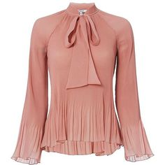 Derek Lam 10 Crosby Women's Pleated Tie Blouse ($395) ❤ liked on Polyvore featuring tops, blouses, layered blouse, pink top, long bell sleeve tops, long tops and double layer top