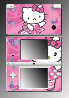 e2d0e18d203d Hello Kitty Pink Flower Hearts Princess Gift Video Game Vinyl Decal Cover  Skin Protector for Nintendo XL
