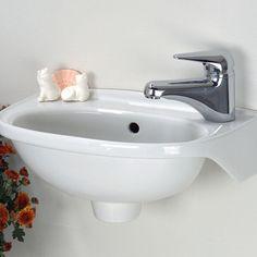 Small Space Solutions: Tiny Bathroom Sink: 15 W x 9 D x 6 H Wall Mounted Basins, Wall Mounted Bathroom Sinks, Bathroom Sink Faucets, Bathroom Plumbing, Bathroom Storage, Tiny Bathrooms, Tiny House Bathroom, Bathroom Small, Basement Bathroom