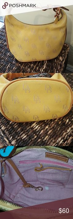 Dooney and Bourke small hobo bag Small yellow and gray hobo bag in like new condition Dooney & Bourke Bags
