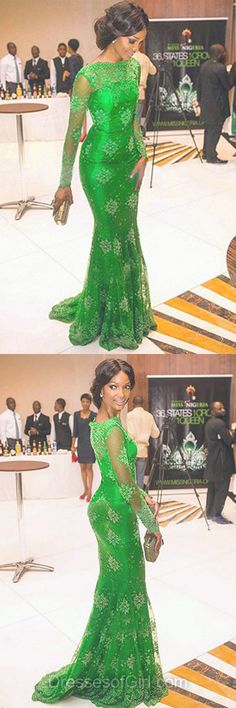 Green Prom Dress, Long Sleeve Prom Dresses, Mermaid Evening Gowns, Long Party Dresses, Lace Formal Dresses