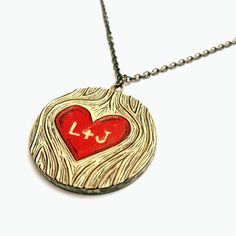 Faux Bois Woodgrain Red Heart Personalized  Necklace  - Wood You Love Me. $45.00, via Etsy.