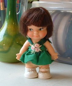 1965 Vintage Doll in Green Dress Uneeda Doll PEE WEE Doll from 1965