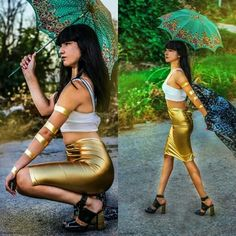 Fashion design women 2014 gold metallic skirt, white top & bw kimono My photography #arteothebrand #fashionphotography