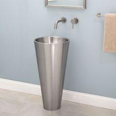 Beautiful Almeda Stainless Steel Pedestal Sink #dreamhome #whittington  #signaturehardware