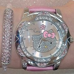 Perfect watch to match another Hello Kitty bracelet. Bijoux Hello Kitty, Hello Kitty Jewelry, Hello Kitty Accessories, Pink Hello Kitty, Hello Kitty Items, Here Kitty Kitty, Hello Hello, Hello Kitty Stuff, Sanrio