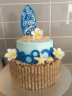 A favorite of mine   Hawaiian themed 13th birthday cake with handmade shells, surfboard and frangipani