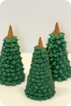 How-to - Christmas trees out of ice cream cones. These are super easy to make!