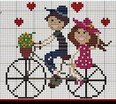 Carol e Bruno Cross Stitch Patterns Free Easy, Cross Stitch Borders, Cross Stitch Baby, Cross Stitch Charts, Cross Stitch Designs, Cross Stitching, Cross Stitch Embroidery, Cross Stitch Bookmarks, Simple Embroidery