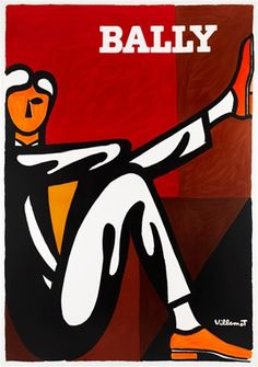 Bally (homme) poster by Villemot 1976 France - Beautiful Vintage Poster Reproductions. French poster Swiss shoe company features a man siting down with one leg up against brown and orange background .Giclee Advertising Print. Classic Posters