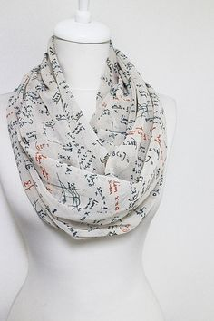 Mathematics Pattern Chiffon Infinity scarf Circle by Aslidesign Circle scarf, Long Scarf, Valentines Day Gift Ideas For Her Women Fashion Accessories