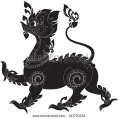 fantasy lion in the tale of Laos vector illustrations, tattoos, stickers, image / southeast asia art design
