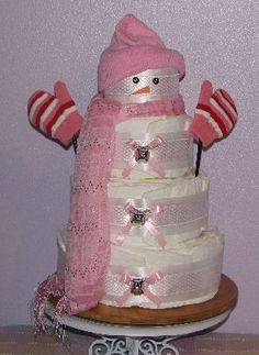 Snowman Diaper Cake - for a winter baby shower