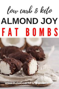 Low Carb Almond Joy Bars - If you love almond joy candy bars then you will love our low carb almond joy fat bomb recipe! With only 3 net carbs per serving you'll feel like you're indulging in this sweet keto treat without any of the guilt! Keto Foods, Keto Snacks, Low Carb Desserts, Low Carb Recipes, Coconut Oil Recipes Keto, Meal Recipes, Paleo Recipes, Recipies, Dinner Recipes
